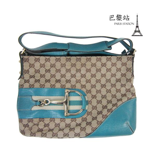 【巴黎站二手名牌專賣店】*現貨*GUCCI 真品*141504 藍綠色皮革邊緹花布馬蹄釦造型斜背包