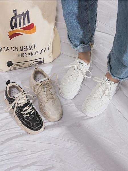 運動女鞋子新款秋鞋秋款ins潮百搭小白鞋秋季休閒老爹鞋潮鞋 金曼麗莎
