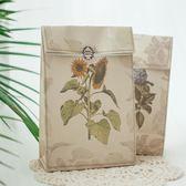 簡約復古文藝花朵植物牛皮紙袋新年送禮烘焙禮品盒袋加厚牛皮【全館89折低價促銷】