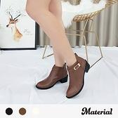 短靴 簡約側扣帶後拉鍊短靴 MA女鞋 T7804