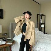 工裝外套秋裝2019新款工裝卡其色拉鏈寬鬆長袖外套綁帶短款風衣夾克女 嬡孕哺