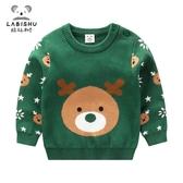 店長推薦 秋冬裝加厚針織衫寶寶線衣外套2018新款男童圣誕鹿頭毛衣