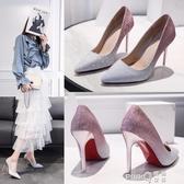 2020春夏季百搭新款少女性感尖頭鞋網紅亮面法式高跟鞋女細跟單鞋