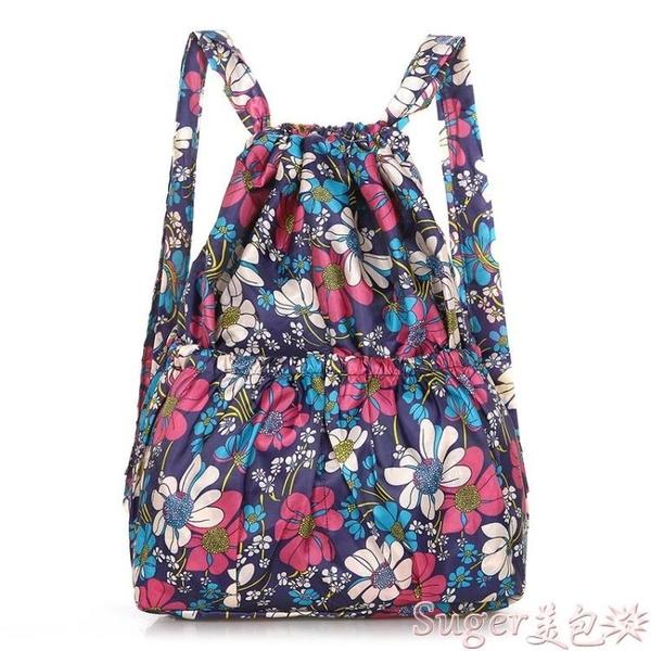 束口包大容量防水背包女抽繩束口袋花布包中老年後背包買菜購物袋方便袋 suger