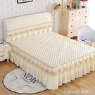 床罩床裙單件 床裙式 防滑加厚夾棉床頭罩套裝歐式蕾絲花邊三件套 樂活生活館