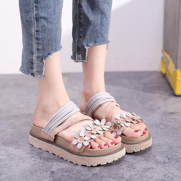 涼拖女外穿夏沙灘鞋時尚拖鞋度假海邊百搭厚底松糕鞋涼鞋