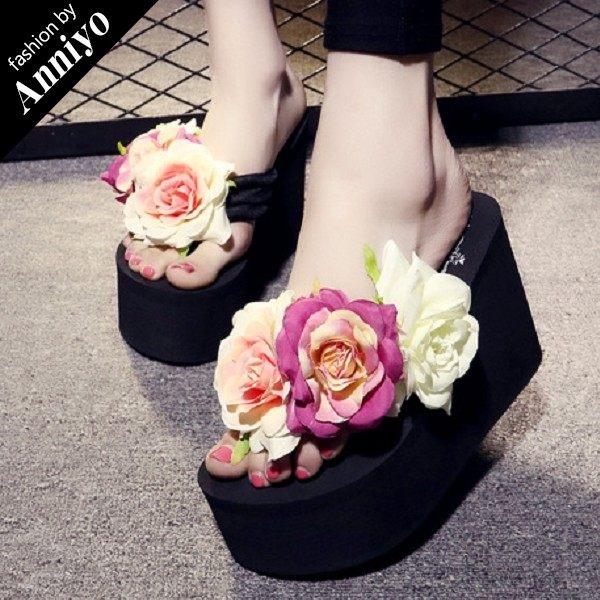 Anniyo安妞‧波希米亞海邊度假必備浪漫花朵人字拖夏季夾腳拖超高坡跟超厚底沙灘拖鞋涼鞋 黑色