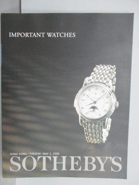 【書寶二手書T1/收藏_PPN】Sotheby s_Important Watches_2000/5/2