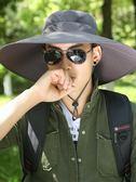 帽子 遮陽帽 釣魚帽男遮陽防曬戶外垂釣透氣涼帽大帽檐可折疊太陽帽漁夫帽  歐萊爾藝術館