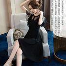 經典女伶優雅花形蕾絲荷葉袖腰身不規則下擺...