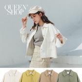 Queen Shop【02071217】基本百搭休閒雙口袋造型短版外套 四色售*現+預*