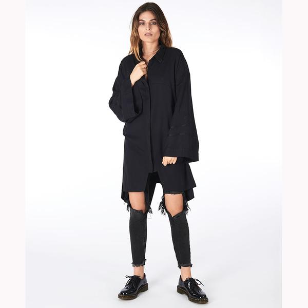 OneTeaspoon 長版襯衫 OVERSIZED SHIRT DRESS -黑(女)