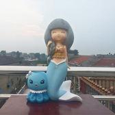 高28cm寬18cm美人魚女孩筆筒儲錢罐石膏模具乳膠diy石膏娃娃彩繪