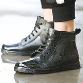 雨鞋男低筒防滑水靴秋冬保暖時尚釣魚雨靴廚房膠鞋繫帶防水鞋男  居家物語