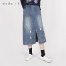 a la sha+a  前開岔直筒牛仔裙...