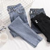 窄管褲 牛仔褲女秋季新款韓版高腰緊身顯瘦不規則褲腳淺色九分小腳鉛筆褲