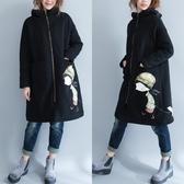 秋冬季洋氣寬鬆衛衣拉鏈中長款大碼女裝胖mm減齡遮肚加絨加厚外套