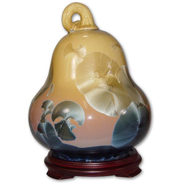鹿港窯~居家開運結晶釉花瓶~10英吋小福祿瓶;購物清單:1件