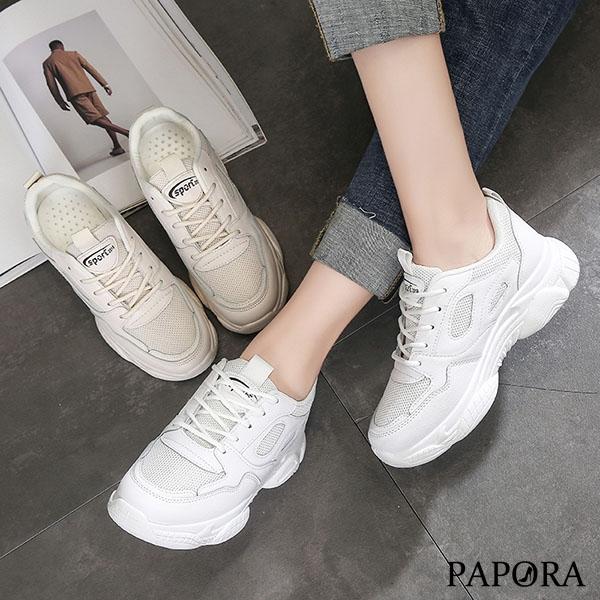 PAPORA潮流純色休閒老爹布鞋KC03米/白