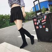 長靴 過膝長靴女新款性感中跟百搭套筒靴絨面瘦腿高筒靴彈力女靴子【諾克男神】