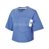 Nike 短袖T恤 NSW Tee 藍 白 女款 短T 短版 運動休閒 【ACS】 CT0875-402