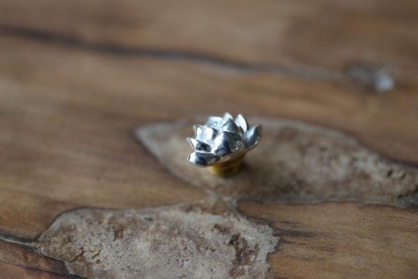 藝術素銀古典文藝禪意荷花胸針純銀別針扣