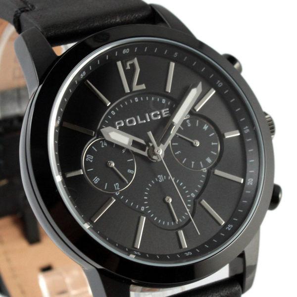 【萬年鐘錶】POLICE 經典造型三眼腕錶 星期/日期顯示 24小時制 黑錶帶 黑殼 黑錶面 45mm 14673JSB-02