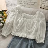 一字肩 甜美法式小眾褶皺修身木耳邊純色上衣女2021新款短款露臍一字肩小襯衫
