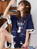 家居服 睡衣女夏季可愛韓版日系短袖純棉少女款甜美公主風學生家居服套裝 寶貝 免運