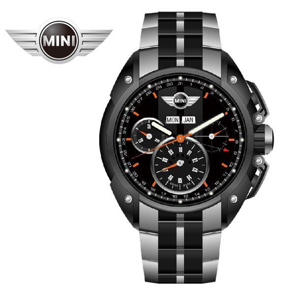 【萬年鐘錶】MINI Swiss Watches英國風格 午夜黑面暗灰中條三眼外圈數字日期銀黑雙色鋼帶 45mm MINI-06S