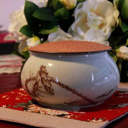 景德鎮手工手繪陶瓷罐圓形茶葉罐龍
