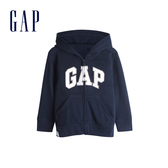 Gap男幼童 Logo棉質刷毛內裡連帽外套 567921-藏青色