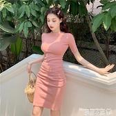 修身洋裝 2021夏裝ins優雅性感復古顯瘦短袖連身裙女純色圓領緊身打底裙潮 曼慕衣櫃
