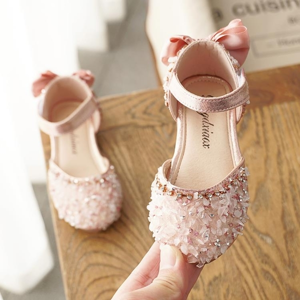女童鞋2021夏季新款公主鞋女童涼鞋女寶寶包頭時尚兒童水晶鞋軟底 幸福第一站