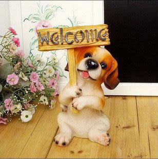 -可愛比格犬舉牌歡迎牌