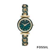FOSSIL CARLIE MINI 小卡莉經典交織不鏽鋼女錶- 金X綠色28MM ES4674