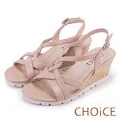 CHOiCE 簡約時尚 細版交叉楔型編織涼鞋-米色