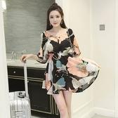 洋裝-花色時尚優雅氣質雪紡女連身裙73hd24【時尚巴黎】
