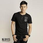 【BTIS】胸章開襟 T-shirt  / 黑色