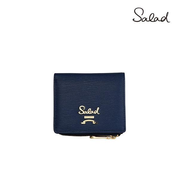 【Salad】可拆式零錢袋壓紋牛皮革短夾(藍)