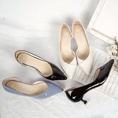 尖頭單鞋中跟3-5cm貓跟女鞋子高跟鞋漆皮側空百搭性感OL單根鞋秋 道禾生活館