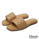 Dingle丁果ღ時尚菱格紋平底涼拖鞋(三色大尺碼34-43)