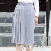 日本購西裝半身裙女職業高腰及膝黑色a字學院風蓬蓬百褶裙中裙春 青木鋪子
