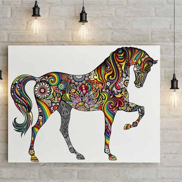 壁貼 花紋馬 居家裝飾牆壁貼紙《生活美學》