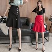 包臀裙OL半身裙S-3XL1088撞色金屬紐扣時尚復古優雅撞色紐扣高腰魚尾裙半身裙D734依佳衣