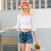 牛仔短褲/女夏季高腰修身學生短褲顯瘦闊腿寬松下裝熱褲修身版