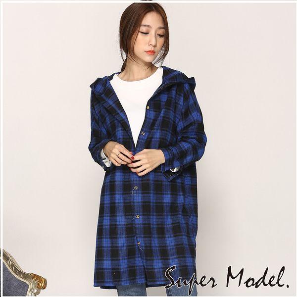 【名模衣櫃】法蘭絨長版格紋襯衫-藍色(F可選)  33523