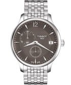 TISSOT 天梭 Tradition GMT 二地時區經典手錶-灰/銀 T0636391106700