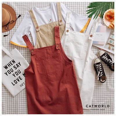 Catworld 正韓空運*復古色大口袋吊帶裙【16500163】‧F