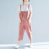 夏裝新款文藝復古印花背帶褲女寬鬆大尺碼九分闊腿連體褲休閒垮褲潮 降價兩天